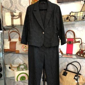 ST. JOHN Black Label Black Jacquard Jacket & Pant